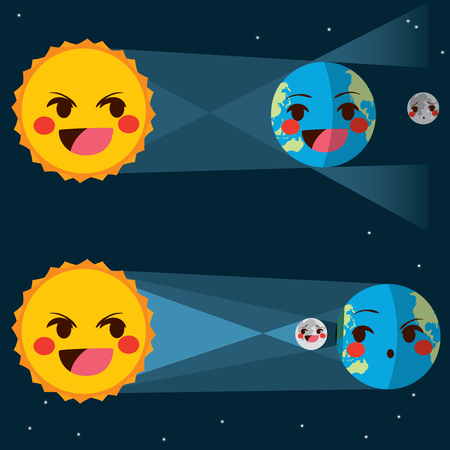 Infographic flat color style illustration of lunar and solar eclipse Vettoriali
