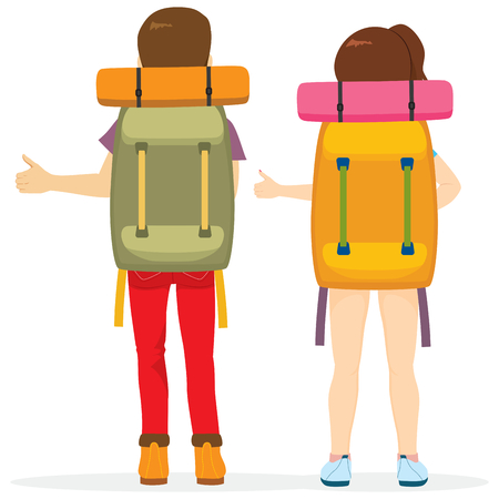 Couple hitchhiking tourism concept traveling with big bag backpack Illustration