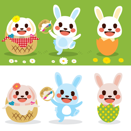 Happy Easter cute little bunny set with colorful eggs