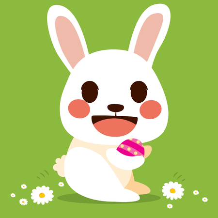 Cute little flat color style Easter bunny holding decorated egg