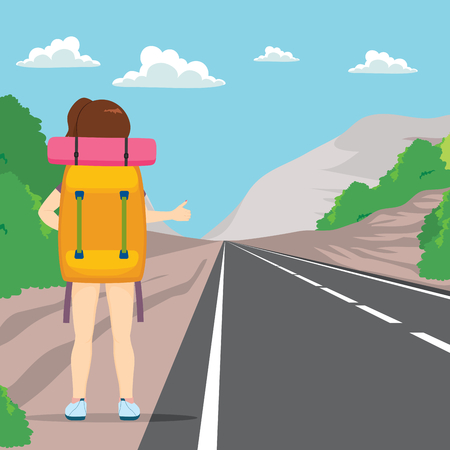 big woman: Back view of woman hitchhiking with big backpack standing on road side