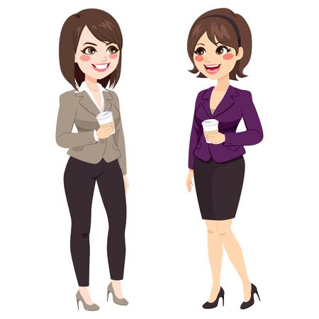 Mooie kantoormeisjes met koffiepauze praten en glimlachen Stock Illustratie