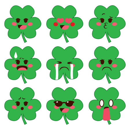 Cute set collection of cute shamrock emoji with different face expressions