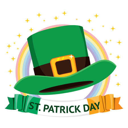 Traditional st Patrick day green hat on banner with text