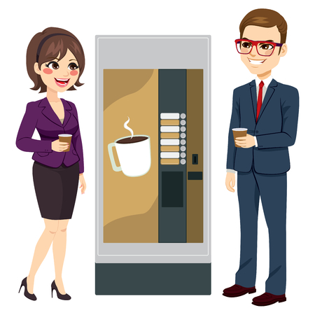 Two workers enjoying coffee standing next to vending machine