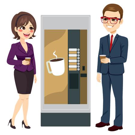 Twee werknemers genieten van koffie naast de automaat staan