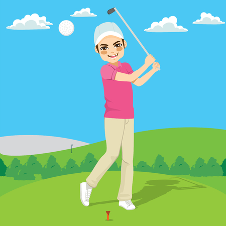 Young happy golf player man hitting golf ball on course