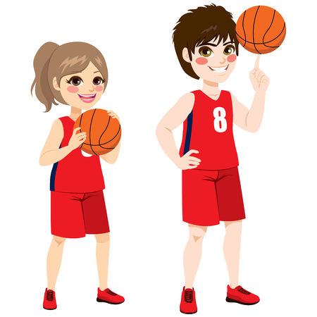 Junge Basketball Kinder Spieler stehen mit Ball Standard-Bild - 74539340