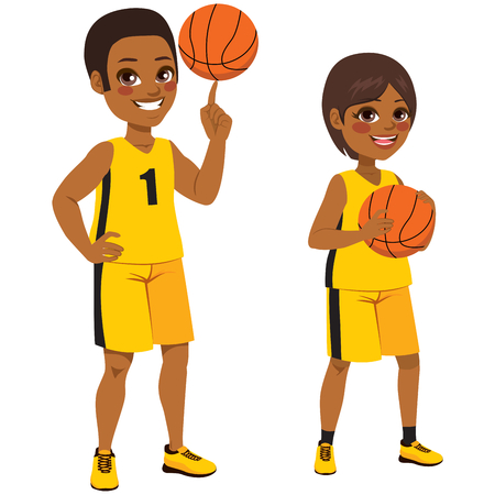 Young basketball African American children players standing with ball Ilustracja
