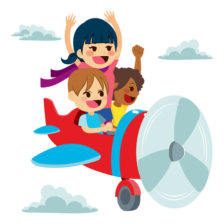 asian art: Cute little children flying on plane using imagination