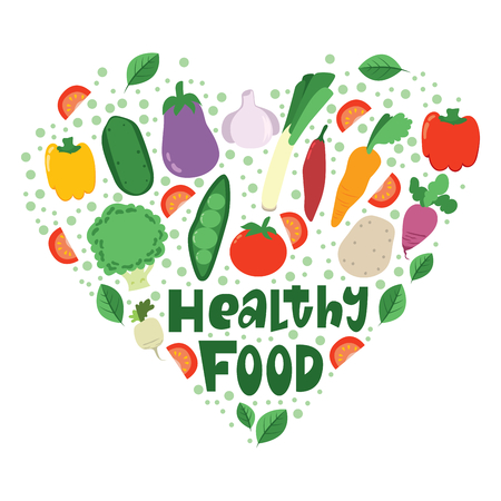 Healthy vegetables food heart shape with text. Illustration