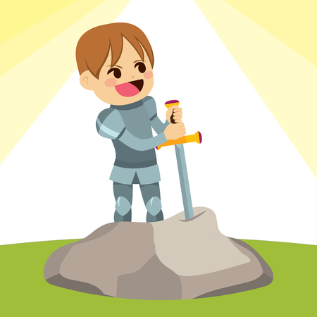 Cute little knight boy pulling Excalibur sword out of stone.