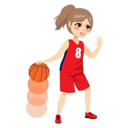action girl: Beautiful young female basketball player playing on action. Illustration