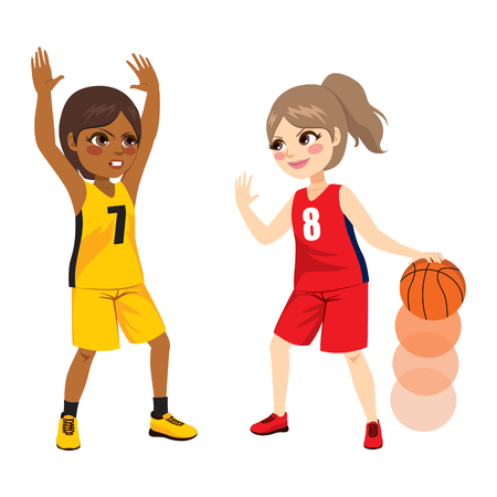 Two young female girls playing on basketball match. Illustration