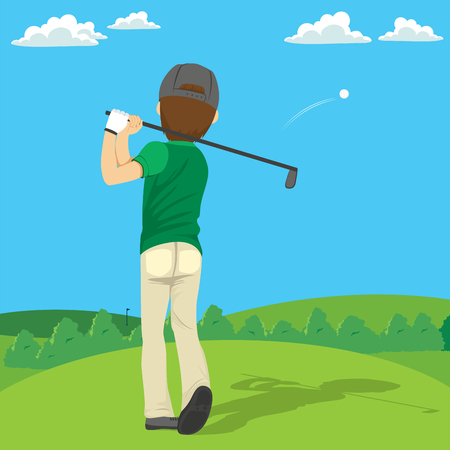 Back view illustration of golfer playing on golf club course.