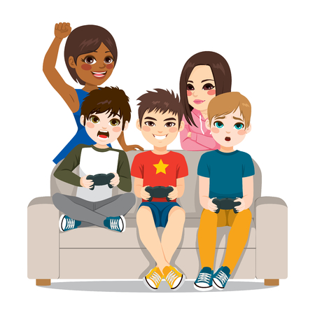 Friends around couch having fun playing video games together