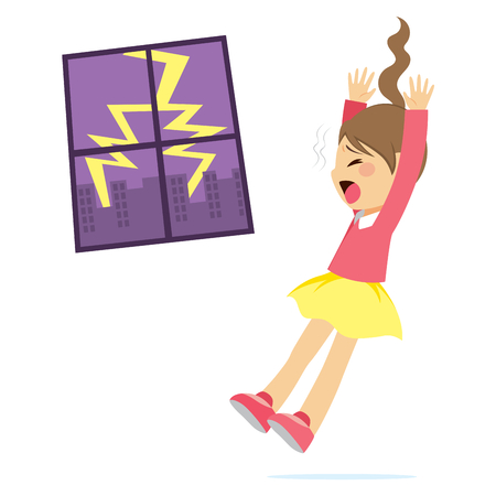 character cartoon: Cute little scared girl with big thunder storm lightning bolt