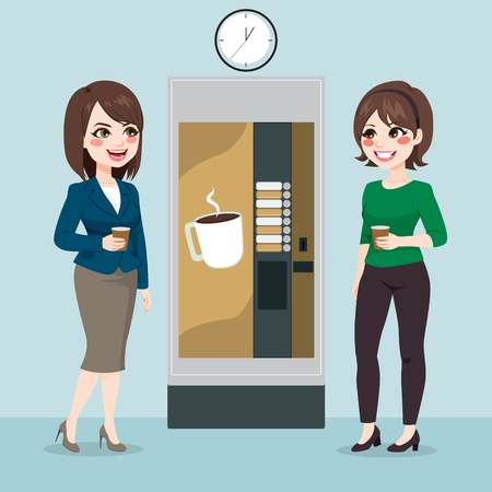 Two beautiful young business woman team having coffee from vending machine on office break time 일러스트