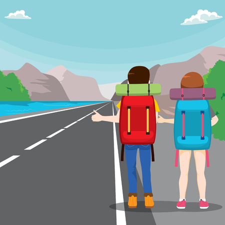 view: Back view illustration of young couple with bag on a travel hitchhiking