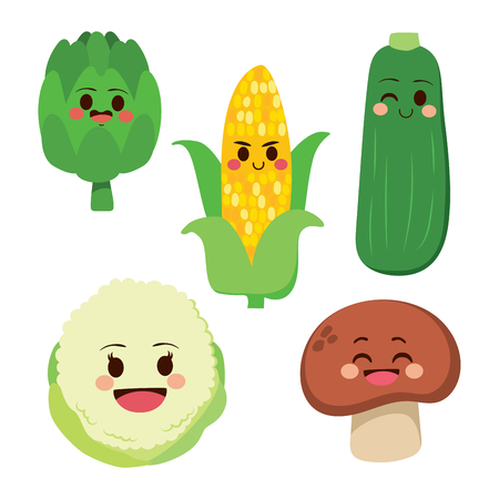 Cute group of fresh healthy vegetable cartoon characters