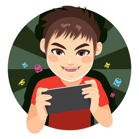 male teenager: Happy delighted gamer boy playing video games with tablet device Illustration