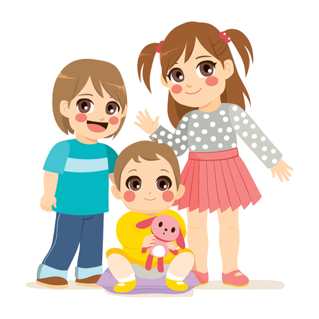 girl: Illustration of siblings family with small baby middle brother boy and big sister Illustration