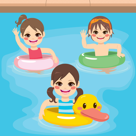 game of pool: Three cute little children with inflatable ring playing on swimming pool Illustration