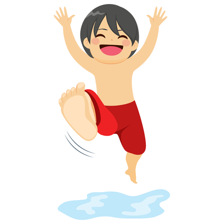 jumping into water: Little happy boy in swimwear jumping into water