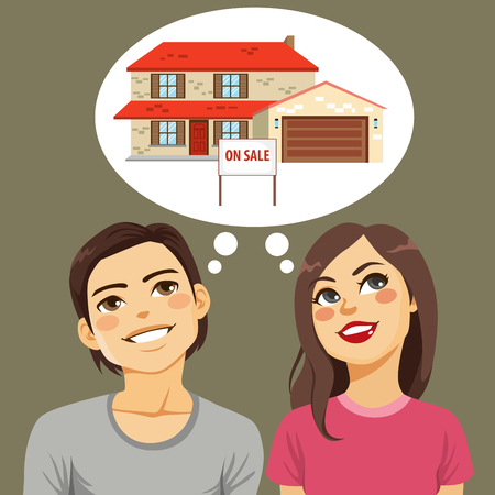 Young happy couple thinking about buying dream house Illustration