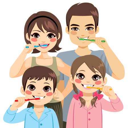family together: Cute four member family brushing teeth together