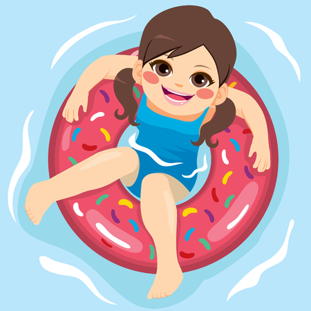 view: Girl looking up with inflatable rubber ring at swimming pool Illustration