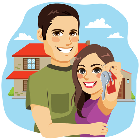 Cute young couple holding keys of their new house Vetores