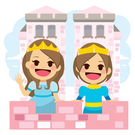 Cute little princess and prince on pink magical royal castle Illustration