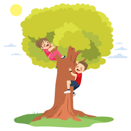 big: Two cute happy little children having fun climbing big tree
