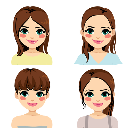 Beautiful young brunette woman with different hairstyle Illustration