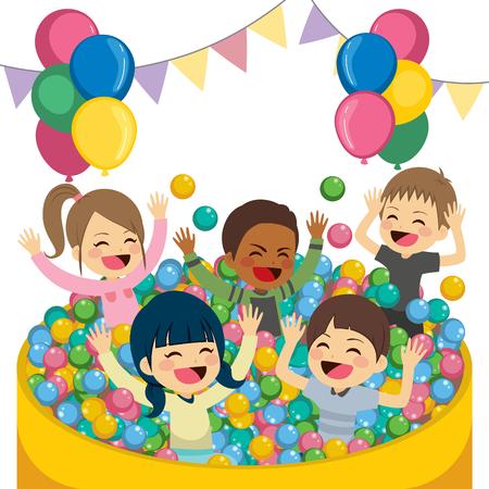 having fun: Cute little children playing on balls pool having fun together
