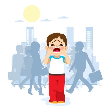 Leuk klein kind huilen omdat hij verdwaald is in de stad met silhouet mensen op de achtergrond Stock Illustratie
