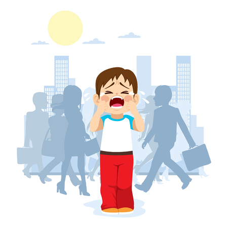 Cute little child crying because he is lost in the city with silhouette people on background Vectores