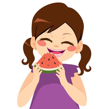 summer diet: Sweet funny cute little girl eating watermelon
