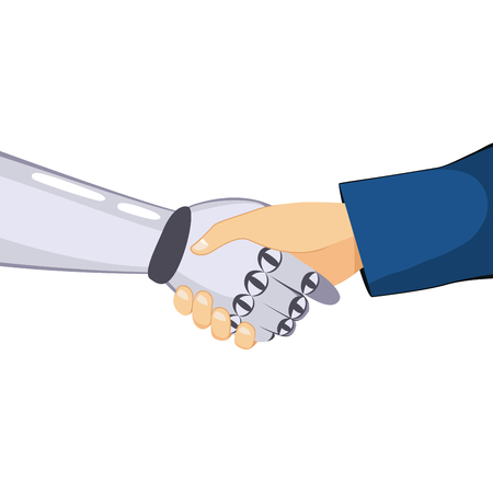 communication: Close up of robot and businessman handshake technology concept