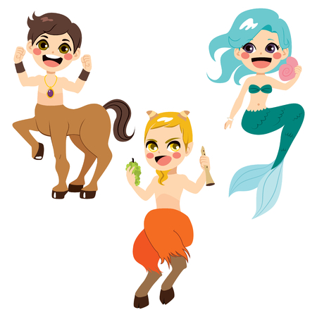 character cartoon: Cute legendary mythology character collection of strong centaur mermaid and faun with flute