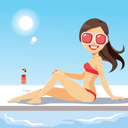 Beautiful young woman lying on swimming pool with cocktail drink Illustration
