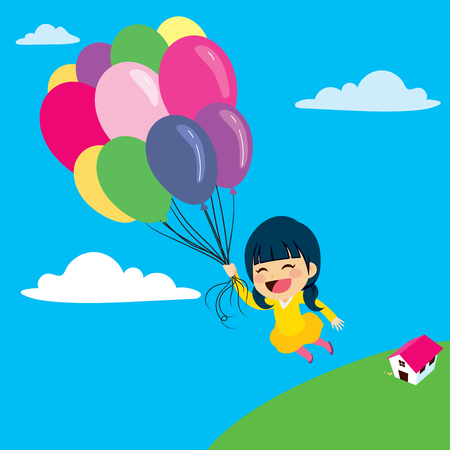 Beautiful little girl flying with balloon over the clouds in the sky Illustration