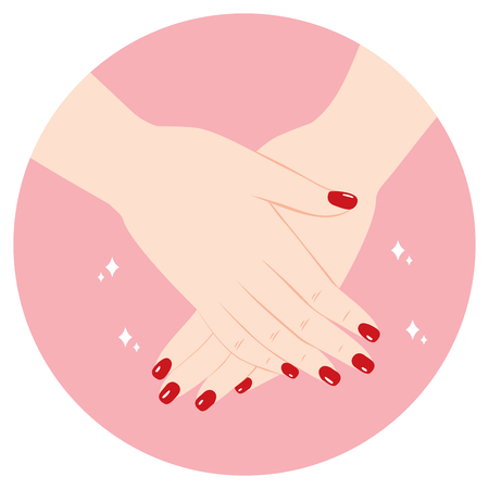 Beautiful hands with red nail polish manicure Illustration