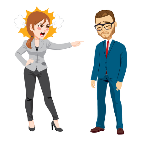 Angry businesswoman firing young sad businessman standing on white background