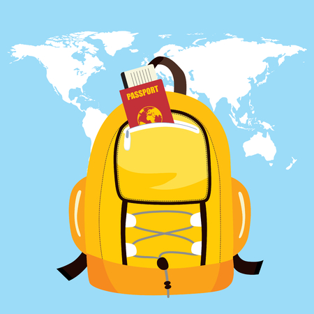 Trekking bag with passport and world map on background travel concept