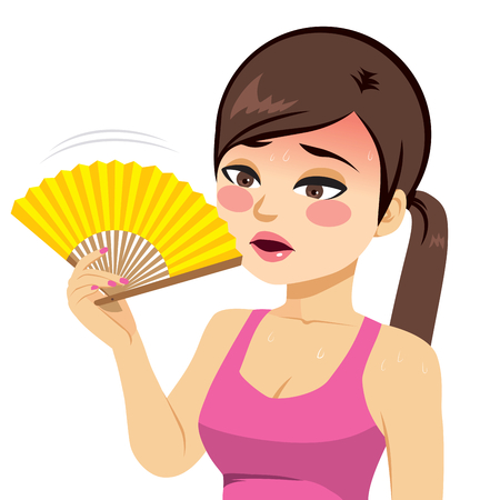 Young beautiful woman heated fanning with yellow fan Ilustração