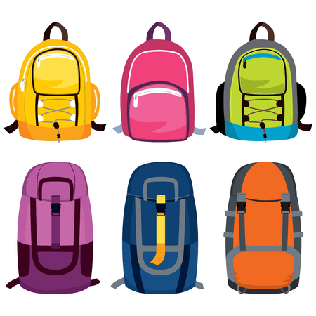 Set collection of colorful camping travel backpacks