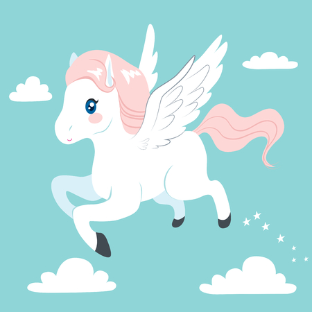Cute and beautiful flying Pegasus on sky