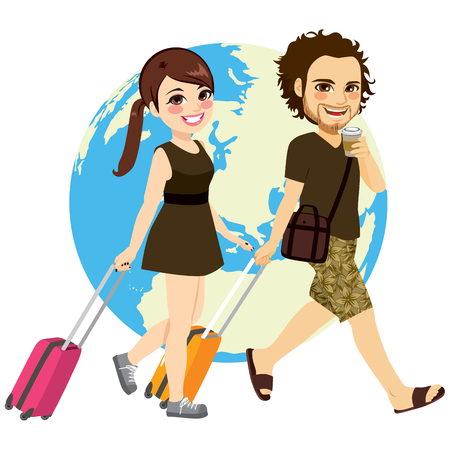 parejas jovenes: Cute young couple traveling with suitcase and earth map on background Vectores